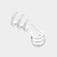 White Gold Plated CZ Cut Out Cage Earrings