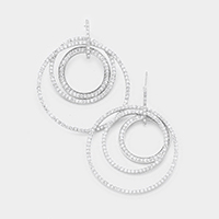 white Gold Plated Layered CZ Triple Hoop Earrings