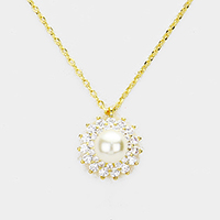 Cubic Zirconia Pearl Accented Pendant Necklace