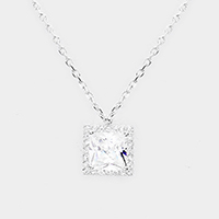 Cubic Zirconia Square Pendant Necklace