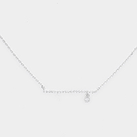 Cubic Zirconia Bar Dangle Pendant Necklace