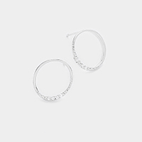 CZ Brass Metal Hoop Stud Earrings