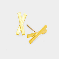 Brass Cross X Shape Metal Stud Earrings