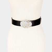 Bubble Stone Cluster Horseshoe Accented Faux Leather Belt