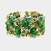 Stone Flower Leaf Cluster Evening Cuff Bracelet