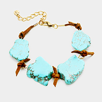 Knotted Suede Turquoise Bracelet