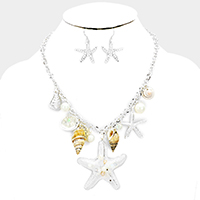 Sea Life Charms Embellished Starfish Accented Necklace