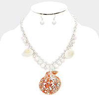 Embellished Stone Pearl Genuine Shell Pendant Necklace
