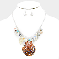 Embellished Beads Pearl Genuine Shell Accented Necklace