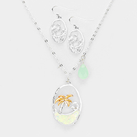 Palm Tree Teardrop Charms Pendant Necklace