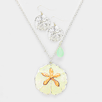 Sand Dollar Teardrop Charms Pendant Necklace