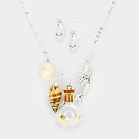 Shell Bottle Mermaid Charms Pendant Necklace