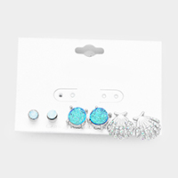 3Pairs Mixed Faux Druzy Stone Shell Stud Earrings