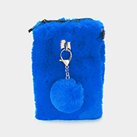 Furry Faux Fur Pom Pom Clutch Bag