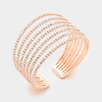 7-Row split layer rhinestone cuff bracelet