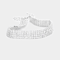 4 Rows Pave CZ Tennis Evening Bracelet