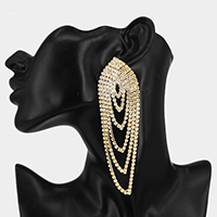 Oversized Draped Pave Crystal Rhinestone Earrings