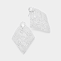 Pave Cubic Zirconia Bent Diamond Shaped Evening Earrings
