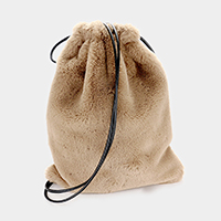 Furry Soft Faux Fur Drawstring Backpack Bag