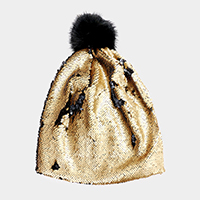 One Side Reversible Sequin Faux Pom Pom Beanie Hat
