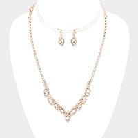 Rhinestone Trim Marquise Stone Accented Necklace