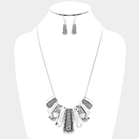 Hammered Bar Fringe Necklace