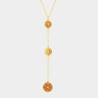Triple Filigree Metal Disc Y Shaped Necklace