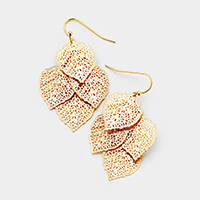 Layered Filigree Leaf Dangle Earrings