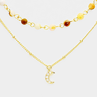Layered Semi Precious CZ Brass Crescent Moon Necklace