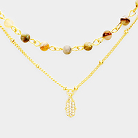 Layered Semi Precious CZ Brass Hamsa Hand Necklace