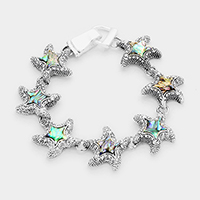 Antique Abalone Starfish Link Magnetic Bracelet