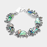 Antique Abalone Elephant Link Magnetic Bracelet