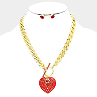 Pave Crystal Rhinestone Heart Toggle Necklace