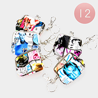 12PCS - Magazine Printed Coin Clasp Purse Key Chain
