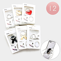 12PCS - Heart Bunny Cell Phone Ring Holder