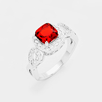 Rhodium Plated CZ Square Stone Detail Ring