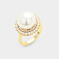 18K Gold Plated CZ Pearl Accented Ring