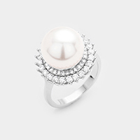 18K White Gold Plated CZ Pearl Accented Ring