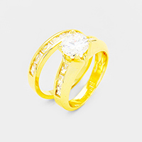 2PCS Gold Plated CZ Round Stone Detail Ring