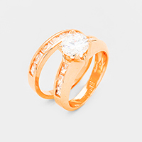 2PCS Rose Gold Plated CZ Round Stone Detail Ring