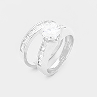 2PCS Rhodium Plated CZ Round Stone Detail Ring