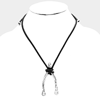 Uni-Sex Wishbone Metal Pendant Necklace