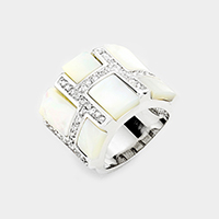 Pave Crystal Rhinestone Mother of Pearl Ring