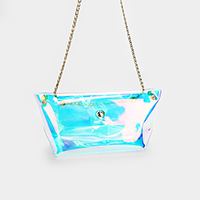 Transparent Hologram Clutch Bag
