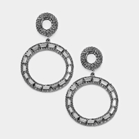 Pave Trimmed Rectangle Stone Double Hoop Evening Earrings
