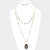 Semi Precious Glass Beaded Genuine Druzy Necklace