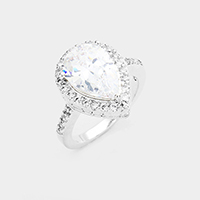 Cubic Zirconia Teardrop Ring