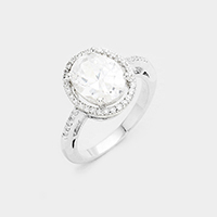 Cubic Zirconia Oval Detail Ring