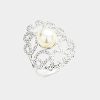 Cubic Zirconia Pearl Detail Ring