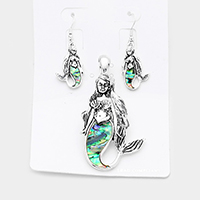 Abalone Antique Mermaid Magnetic Pendant Set